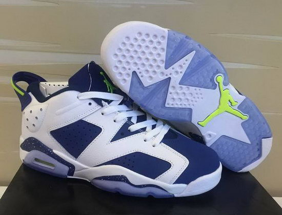 Mens & Womens (unisex) Air Jordan Retro 6 Low White Blue Low Cost