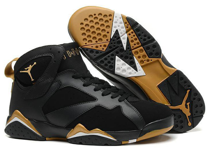 Mens & Womens (unisex) Air Jordan Retro 7 Black Gold Cheap
