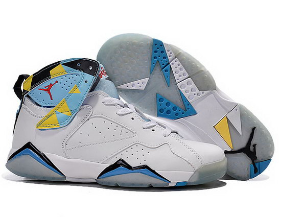 Mens & Womens (unisex) Air Jordan Retro 7 White Blue Black Discount