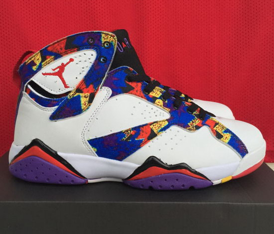 Mens & Womens (unisex) Air Jordan Retro 7 White Blue Pattern Denmark