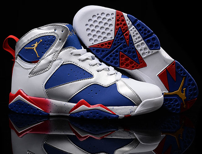 Mens & Womens (unisex) Air Jordan Retro 7 White Dark Blue Red