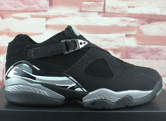 Mens & Womens (unisex) Air Jordan Retro 8 Low Black Silver Cheap