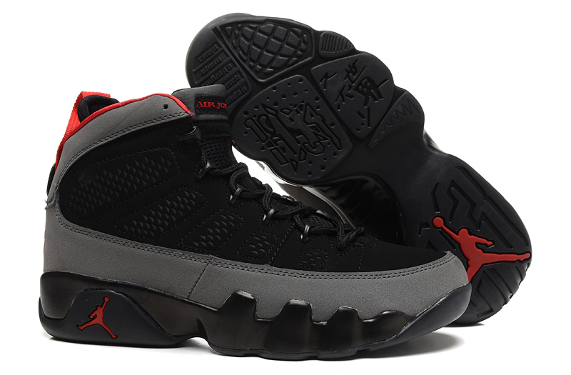 Mens & Womens (unisex) Air Jordan Retro 9 Black Grey Red On Sale