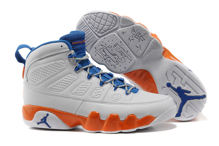 Mens & Womens (unisex) Air Jordan Retro 9 White Blue Orange Online Shop