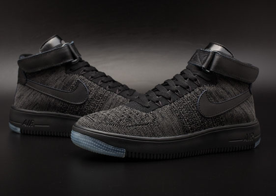 Mens & Womens (unisex) Nike Air Force 1 Flyknit High All Black Denmark