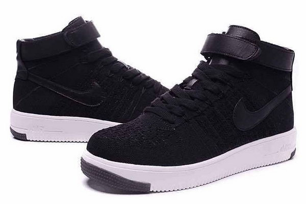 Mens & Womens (unisex) Nike Air Force 1 Flyknit High Black White Factory Store