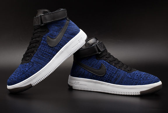 Mens & Womens (unisex) Nike Air Force 1 Flyknit High Blue Black Outlet Online