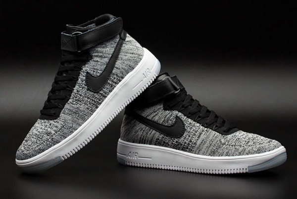 Mens & Womens (unisex) Nike Air Force 1 Flyknit High Grey Black On Sale