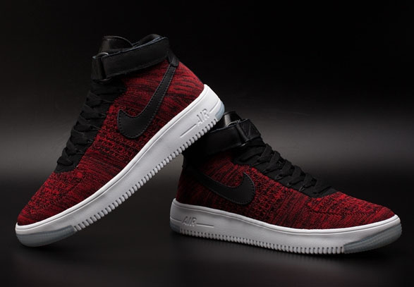 Mens & Womens (unisex) Nike Air Force 1 Flyknit High Red Black Reduced