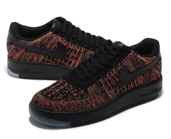 Mens & Womens (unisex) Nike Air Force 1 Flyknit Low Black Colorful Taiwan