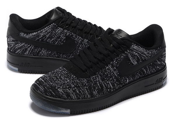Mens & Womens (unisex) Nike Air Force 1 Flyknit Low Black Grey Online Shop