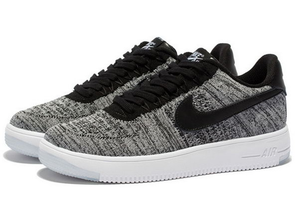 Mens & Womens (unisex) Nike Air Force 1 Flyknit Low Grey Black Factory Outlet
