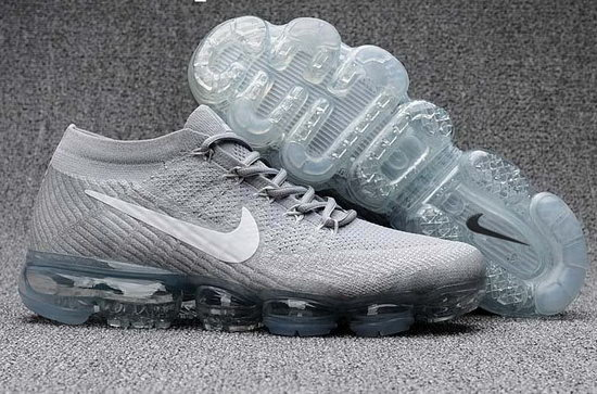 Mens & Womens (unisex) Nike Flyknit Air Vapormax 2018 White Grey Clearance
