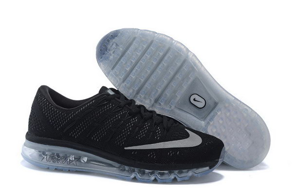 Mens Air Max 2016 Flyknit All Black Grey Outlet Online