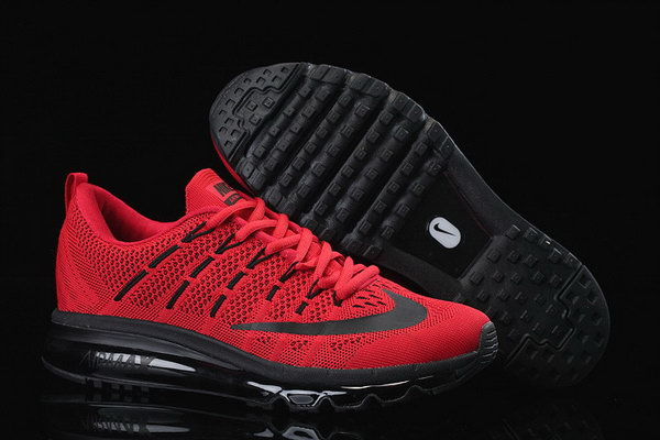Mens Air Max 2016 Flyknit All Red Black China