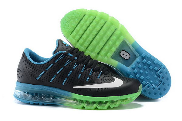 Mens Air Max 2016 Leather Blue Green Black White Factory