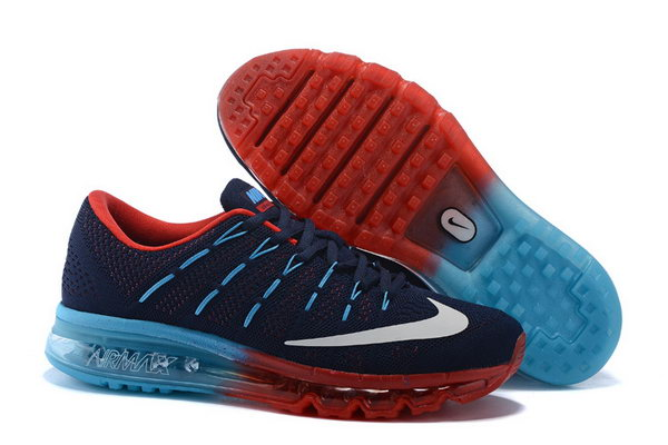 Mens Cheap Air Max 2016 Flyknit Red Blue Grey Reduced