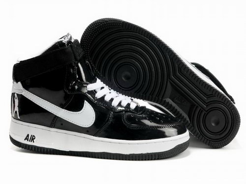 Mens Nike Air Force 1 25th High Shoes Black White Factory Outlet