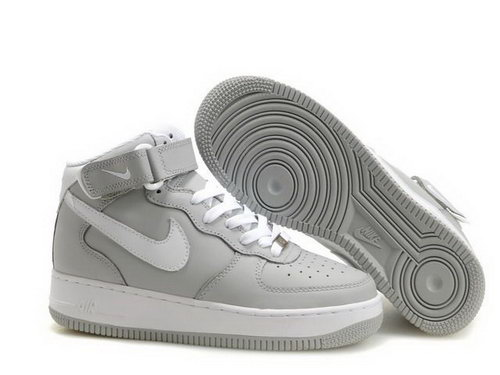 Mens Nike Air Force 1 25th High Shoes Grey White Low Price