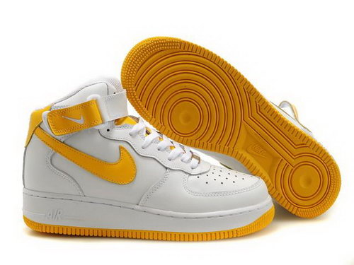 Mens Nike Air Force 1 25th High Shoes White Golden Canada