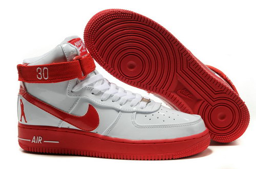 Mens Nike Air Force 1 25th High Shoes White Red Uk