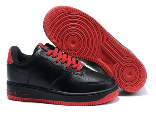 Mens Nike Air Force 1 25th Low Shoes Black Red Sole Cheap