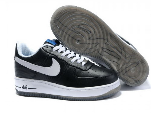 Mens Nike Air Force 1 25th Low Shoes Black White Transparant Sole Best Price
