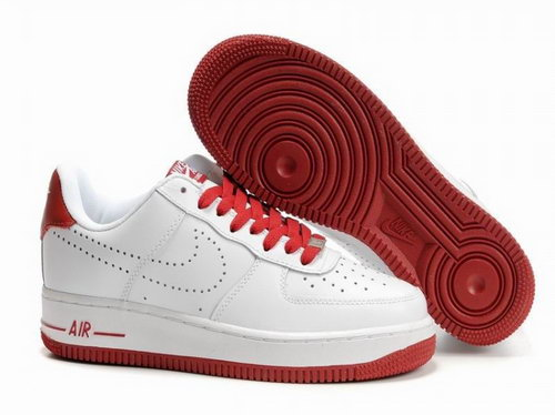 Mens Nike Air Force 1 25th Low Shoes White Dark Red Norway