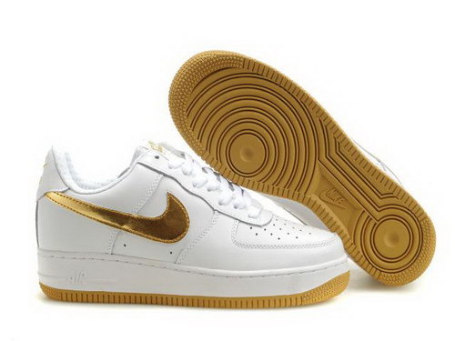 Mens Nike Air Force 1 25th Low Shoes White Gold Sole Online Shop