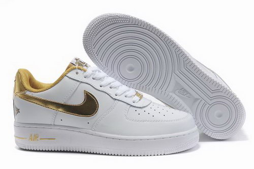 Mens Nike Air Force 1 25th Low Shoes White Gold Spain