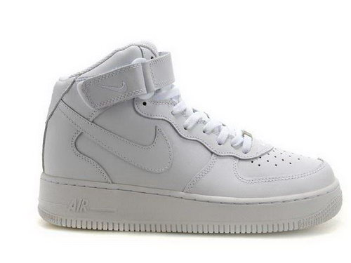 Mens Nike Air Force 1 Mid All White Spain