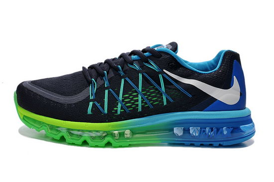 Mens Nike Air Max 2015 Black Green Blue Online Store