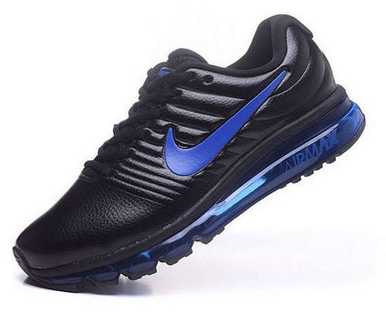 Mens Nike Air Max 2017 Leather Black Blue 2 Low Price