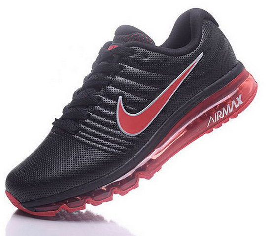 Mens Nike Air Max 2017 Leather Black Red Canada