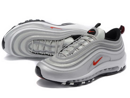 Mens Nike Air Max 97 Silver Grey Red For Sale