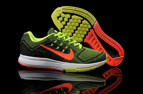 Mens Nike Air Zoom Structure 18 Black Green Orange Reduced
