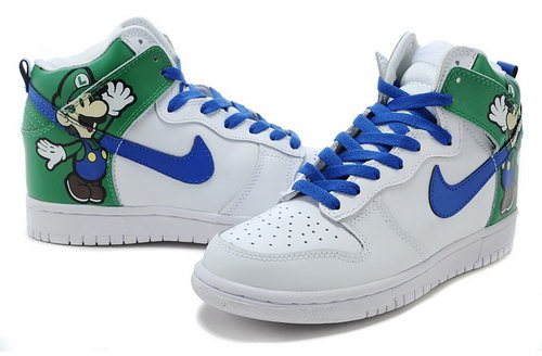 Mens Nike Dunk High Mario - Green White Wholesale