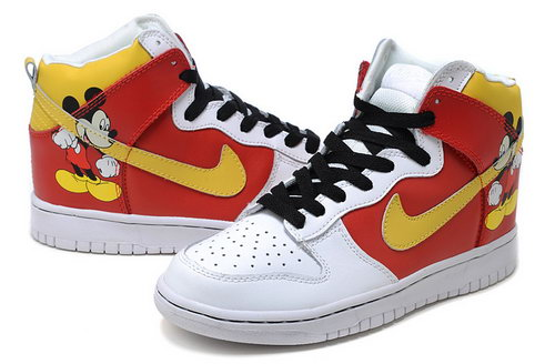 Mens Nike Dunk High Mickey Mouse - Red Yellow White Sale