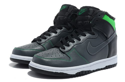 Mens Nike Dunk High All Black - Green Cheap