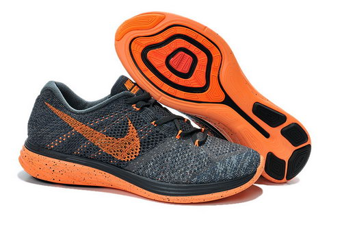Mens Nike Flyknit Lunar 3 Grayish Blue Orange For Sale