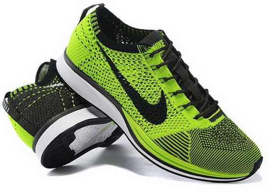 Mens Nike Flyknit Racer Green Black Discount