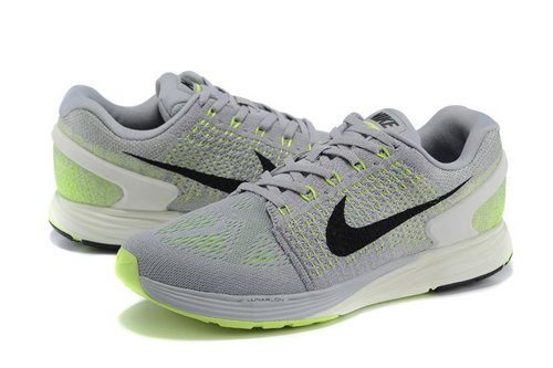 Mens Nike Lunarglide 7 Grey & Fluorescent Green France