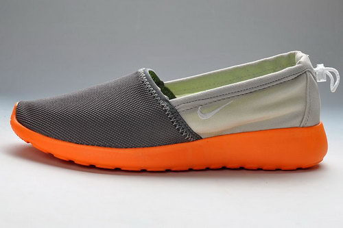 Mens Nike Roshe Run Slip On Running Shoes Orange Gray Denmark