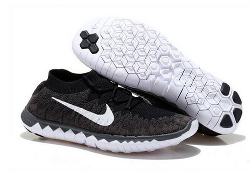 Nike Free Flyknit 3.0 Mens Shoes Black White Factory Store