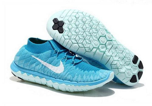 Nike Free Flyknit 3.0 Womens Shoes Sky Blue White Hong Kong