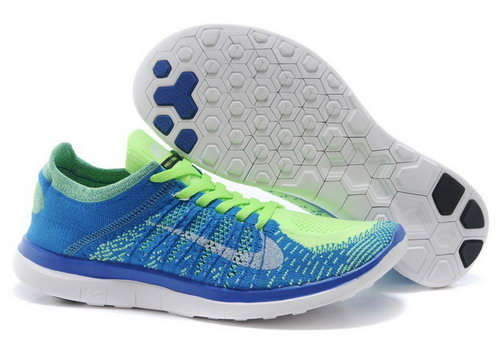 Nike Free Flyknit 4.0 Mens Shoes Blue Green Silver Hot Online Shop