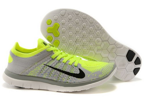 Nike Free Flyknit 4.0 Mens Shoes Gray Bling Green Inexpensive