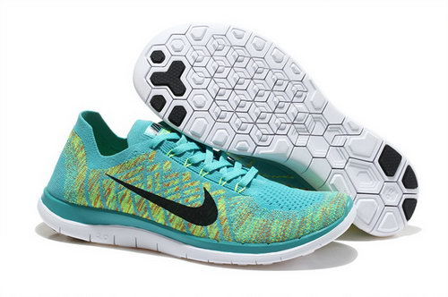 Nike Free Flyknit 4.0 Mens Shoes Green Yellow Black White Hot New Zealand