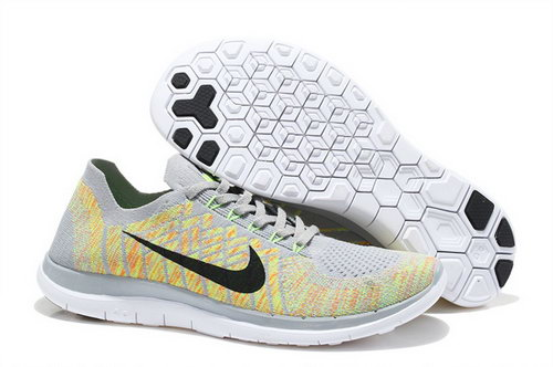 Nike Free Flyknit 4.0 Mens Shoes Light Yellow Black White Hot Factory