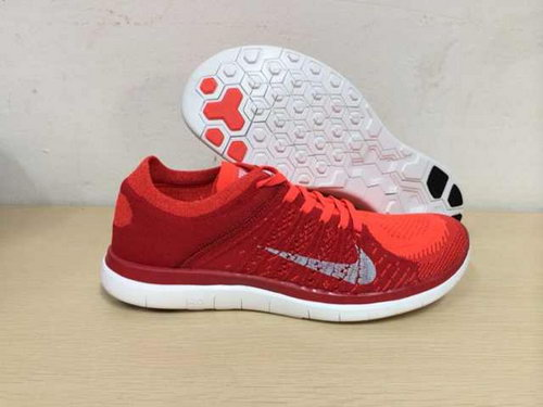 Nike Free Flyknit 4.0 Mens Shoes Red White Coupon
